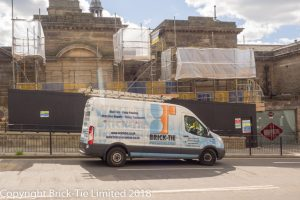 The Brick-Tie team arrive at Harrogate Spa as scaffolding is erected.