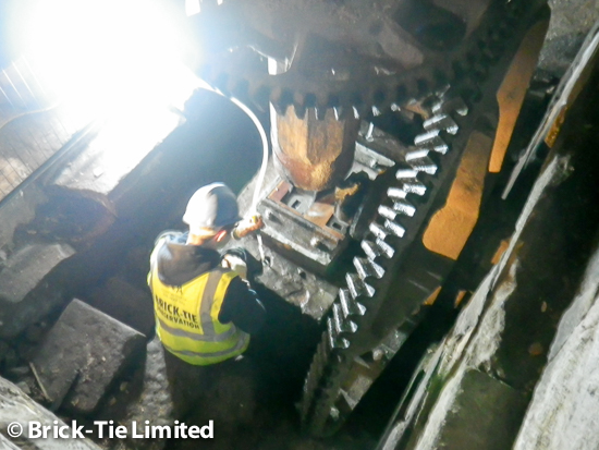 Injecting Presstec grout into the Cintec anchor