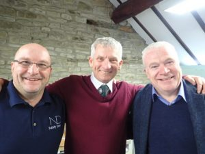 Bryan (centre), with Nigel Deane CMIOSH (ND Safety) and Mike Clark CMIOSH (i-Safe)