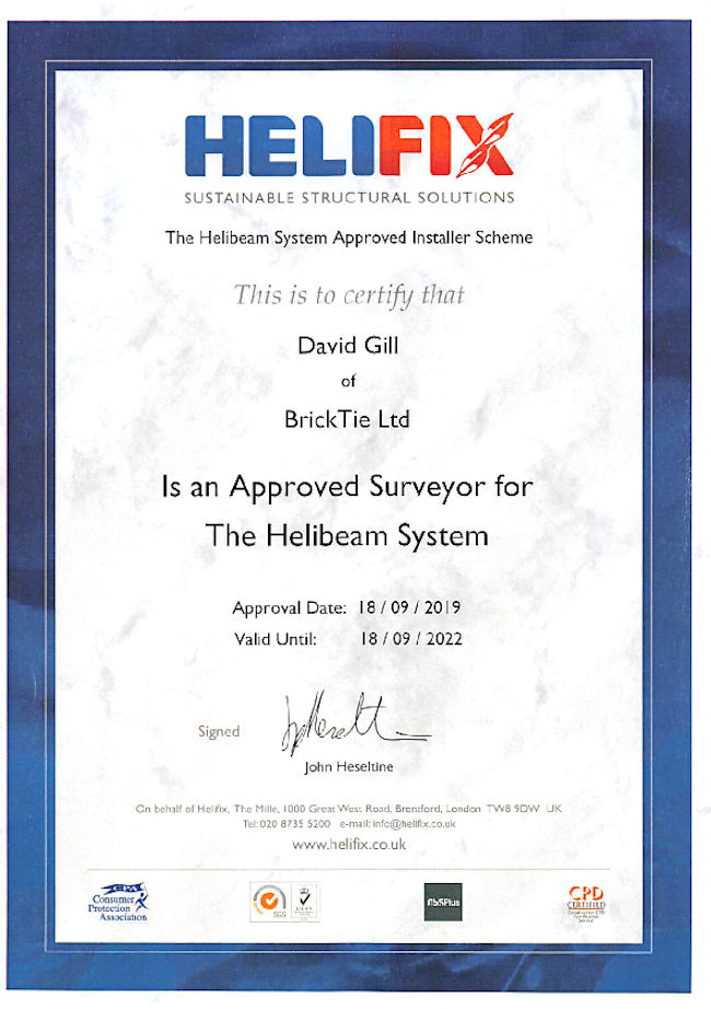 David Gill's Helifix surveyors certificate