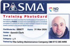 PASMA card Gareth Clark