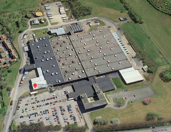 aerial view of Premier Foods Carlton site