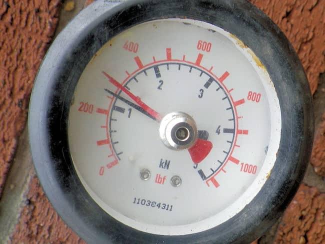 A tension test gauge display